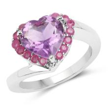 2.93 Carat Genuine Amethyst and Ruby .925 Sterling Silver Ring