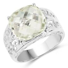 6.23 Carat Genuine Green Amethyst .925 Sterling Silver Ring