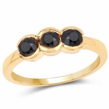 14K Yellow Gold Plated 1.16 Carat Genuine Black Diamond .925 Sterling Silver Ring