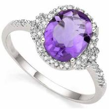 2.41 CARAT TW (3 PCS) AMETHYST & GENUINE DIAMOND PLATINUM OVER 0.925 STERLING SILVER RING