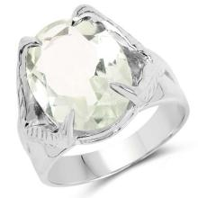 8.20 Carat Genuine Green Amethyst .925 Sterling Silver Ring