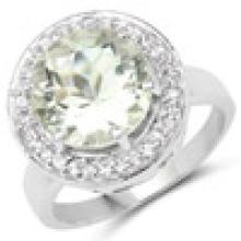 4.97 Carat Genuine Green Amethyst and White Topaz .925 Sterling Silver Ring