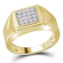 10K Yellow Gold Mens Square Cluster Genuine Diamond Pinky Ring Band 1/3 CT