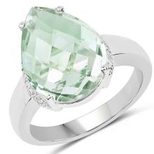 7.40 Carat Genuine Green Amethyst .925 Sterling Silver Ring