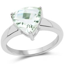 2.25 Carat Genuine Green Amethyst .925 Sterling Silver Ring