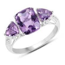 2.70 Carat Genuine Amethyst .925 Sterling Silver Ring