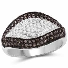 0.50 Carat Genuine Champagne Diamond and White Diamond .925 Sterling Silver Ring