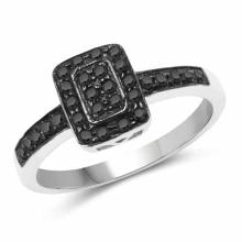 0.32 Carat Genuine Black Diamond .925 Sterling Silver Ring