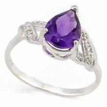 1 1/3 CARAT AMETHYST & DIAMOND 925 STERLING SILVER RING