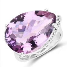 14.40 Carat Genuine Amethyst .925 Sterling Silver Ring
