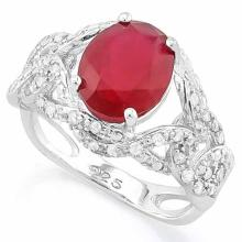 3 1/2 CARAT CREATED RUBY & 4 1/5 CARAT (42 PCS) FLAWLESS CREATED DIAMOND 925 STERLING SILVER RING