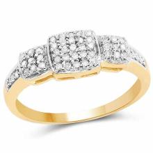 14K Yellow Gold Plated 0.21 Carat Genuine White Diamond .925 Sterling Silver Ring