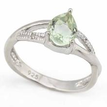1 CARAT GREEN AMETHYST & DIAMOND 925 STERLING SILVER RING