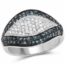 0.50 Carat Genuine Blue Diamond and White Diamond .925 Sterling Silver Ring