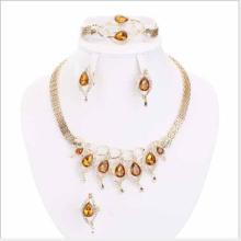 CREATED ORANGE SAPPHIRE & CREATED DIAMOND 18K GOLD PLATED GERMAN SILVER 4PCS SET