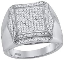 10kt White Gold Mens Round Prong-set Diamond Square Cluster Ring 1/2 Cttw