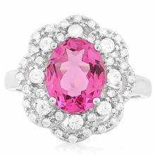 3 1/2 CARAT CREATED RUBY & 4 CARAT (40 PCS) FLAWLESS CREATED DIAMOND 925 STERLING SILVER RING