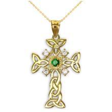 10K Gold Celtic Knot Trinity Cross Diamond Pendant with Genuine Emerald APPROX .35 CTW