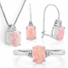 1 4/5 CARAT CREATED PINK FIRE OPAL & (15 PCS) DIAMOND 925 STERLING SILVER SET ( Ring, Earring & Pendant)