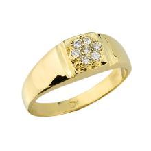 10K Gold Diamond Wedding Men's Ring APPROX .18 CTW