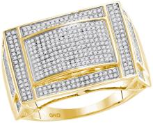 10kt Yellow Gold Mens Round Pave-set Diamond Convex Dome Rectangle Cluster Ring 3/4 Cttw