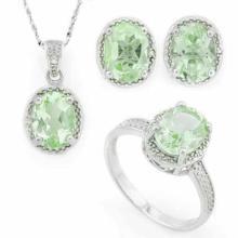 6 2/5 CARAT GREEN AMETHYST & DIAMOND 925 STERLING SILVER SET