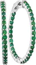 14kt White Gold Womens Round Emerald Inside Outside Hoop Earrings 2-1/2 Cttw