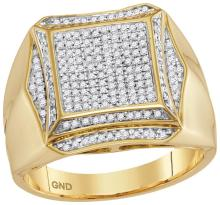 10kt Yellow Gold Mens Round Prong-set Diamond Square Cluster Ring 1/2 Cttw