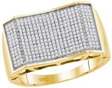 10kt Yellow Gold Mens Round Pave-set Diamond Rectangle Convex Cluster Ring 5/8 Cttw