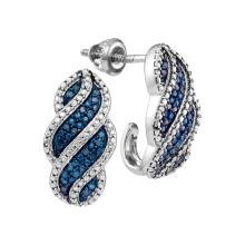 10kt White Gold Womens Round Blue Colored Diamond J Half Hoop Earrings 1/10 Cttw
