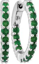 14kt White Gold Womens Round Natural Emerald Hoop Earrings 1-1/3 Cttw
