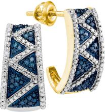 Womens 10K Yellow Gold Enhanced Colored Blue Diamond Half J Hoop Earrings 1/10 CT
