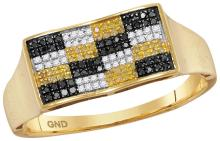 10kt Yellow Gold Mens Round Black Yellow Colored Diamond Checkered Cluster Ring 1/4 Cttw