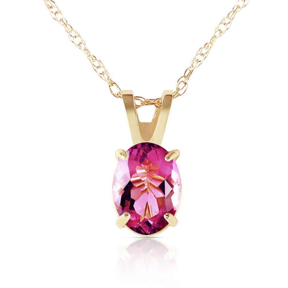 0.85 Carat 14K Solid Gold Heart Asks Mind Pink Topaz Necklace