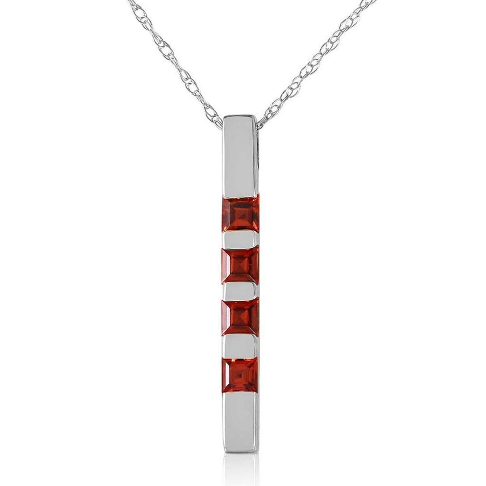 0.35 Carat 14K Solid White Gold Necklace Bar Natural Garnet