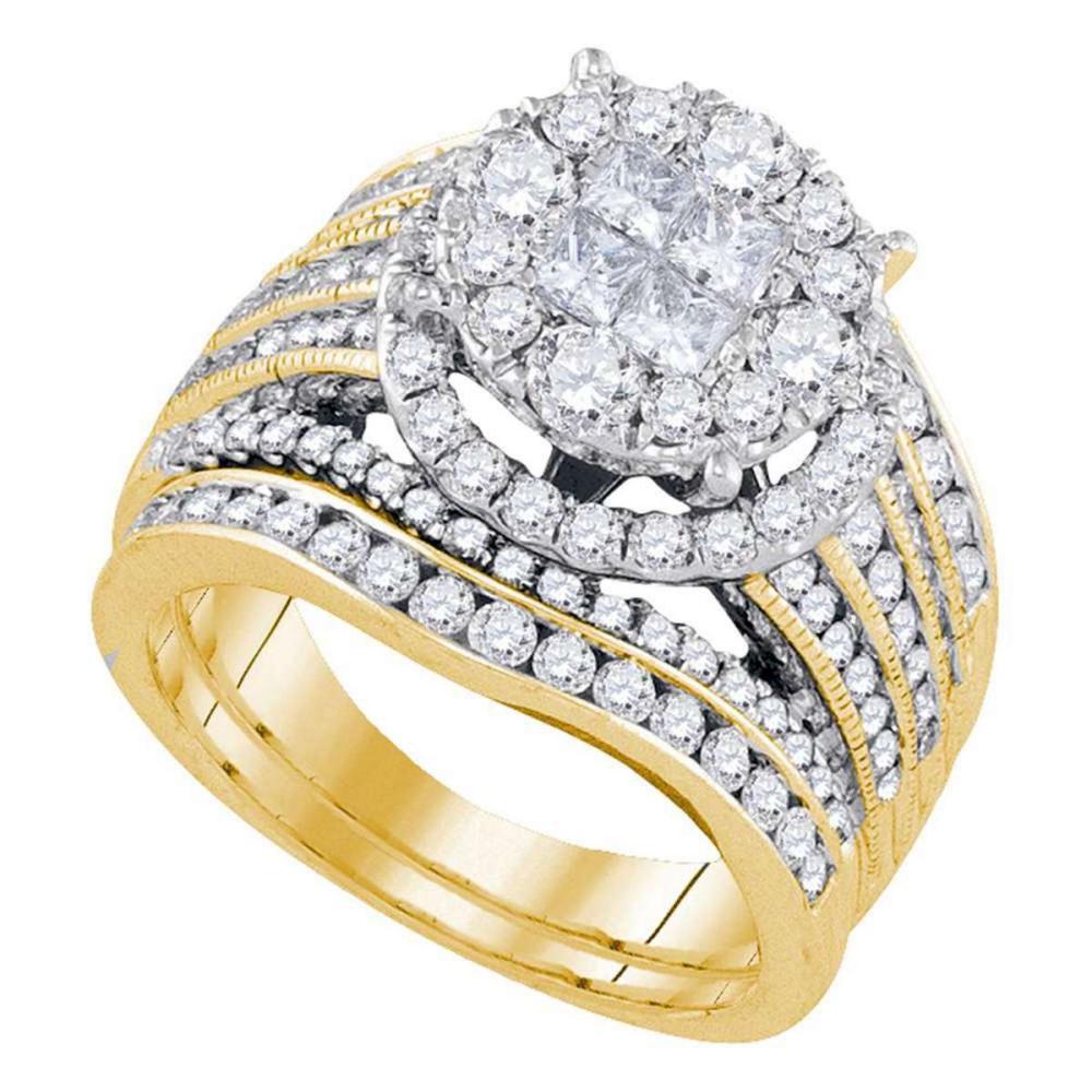 14k Yellow Gold Princess Diamond Bridal Wedding Engagement Ring Set 2-1/2 Ctw
