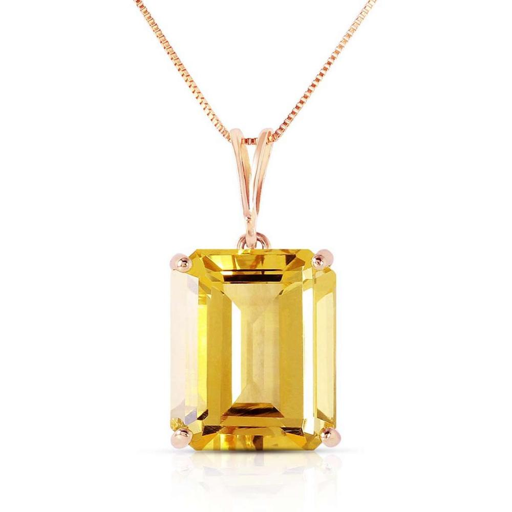 14K Solid Rose Gold Necklace with Octagon Citrine