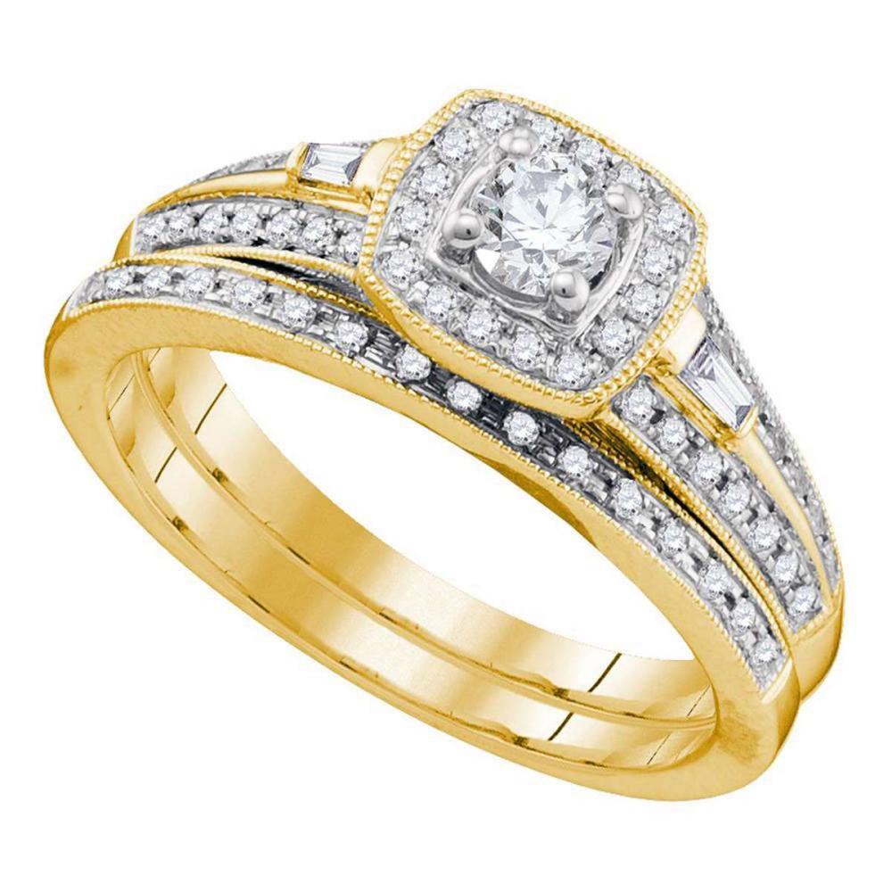10k Yellow Gold Round Diamond Bridal Wedding Engagement Ring Band Set 1/2 Cttw