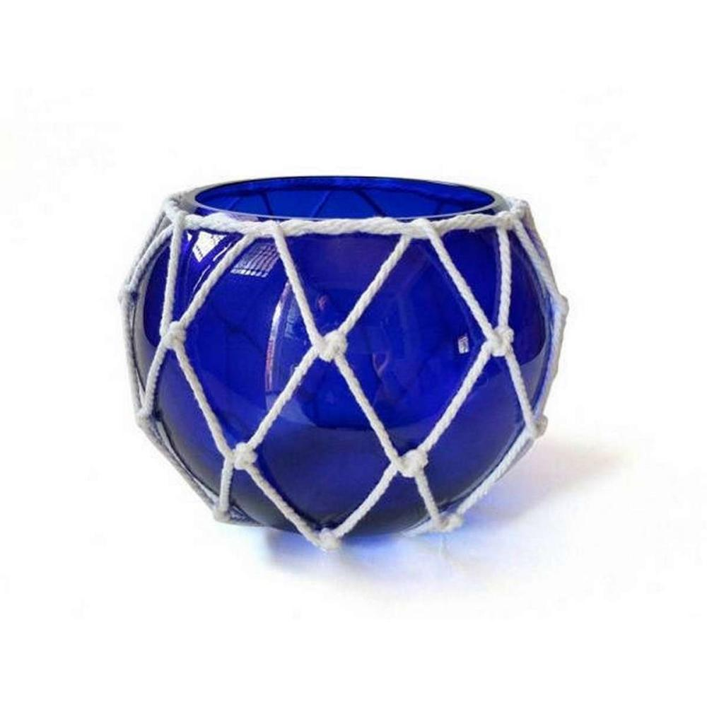 Dark Blue Japanese Glass Fishing Float Bowl with Decorative White Fish Netting 8in.