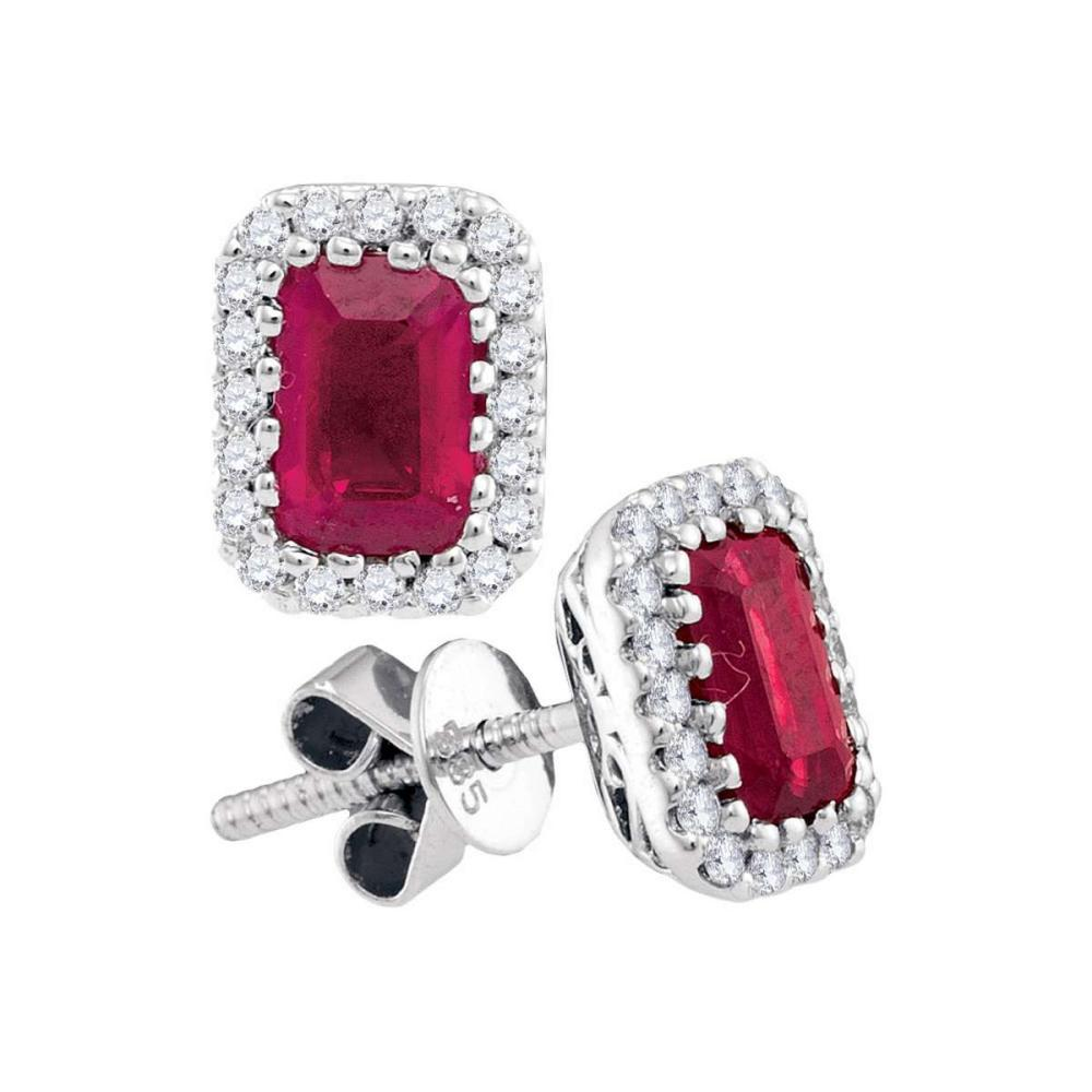 14kt White Gold Womens Emerald-cut Ruby Solitaire Stud Earrings 1-1/2 Cttw
