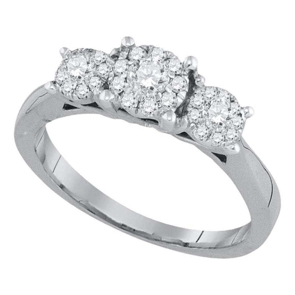 14kt White Gold Round Diamond 3-stone Bridal Wedding Engagement Ring 1/2 Ctw