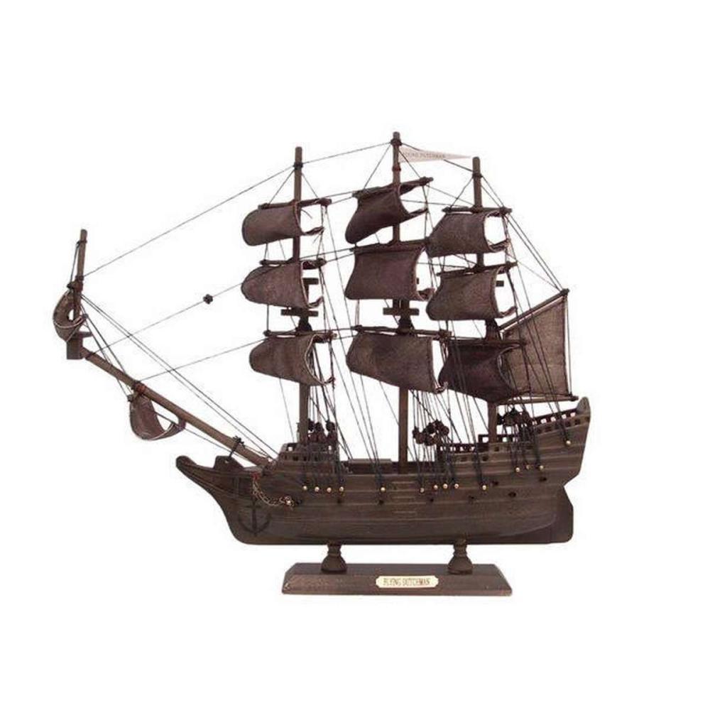 Wooden Flying Dutchman Model Pirate Ship 14in.