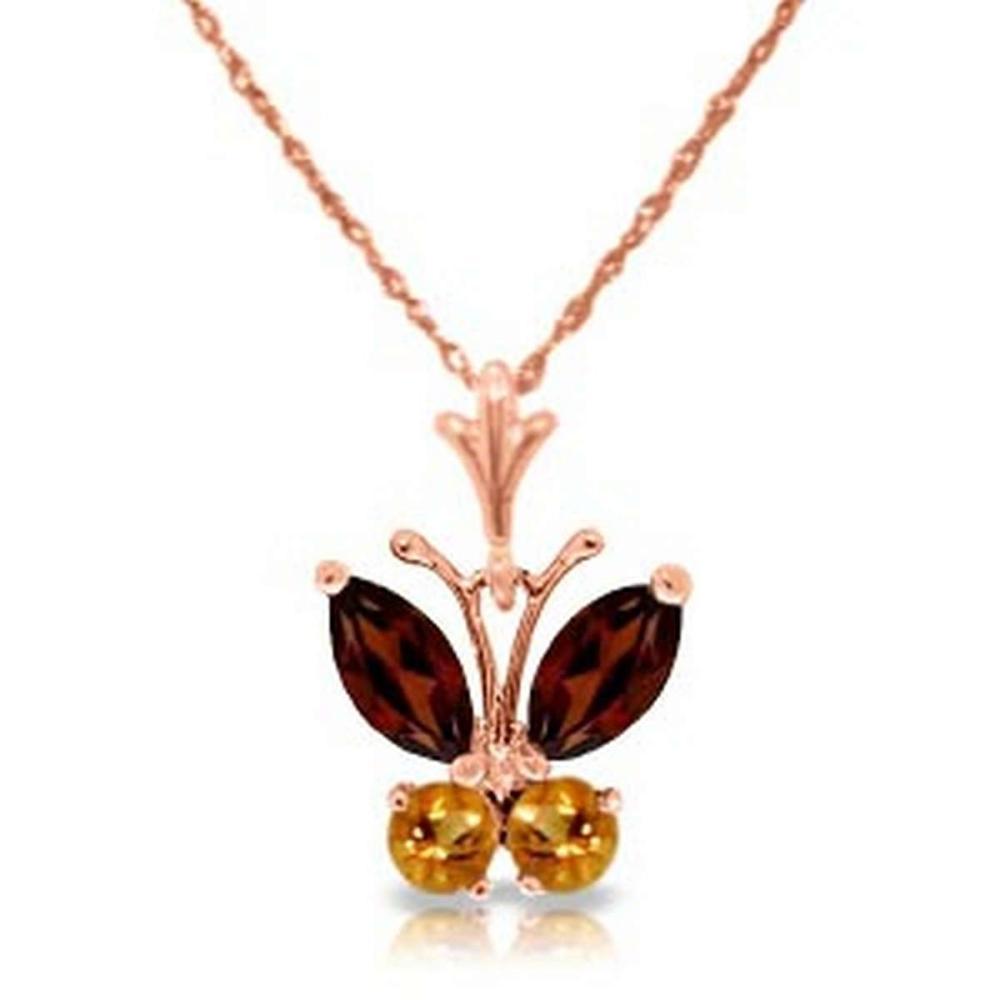 0.6 CTW 14K Solid Rose Gold Butterfly Necklace Garnet Citrine