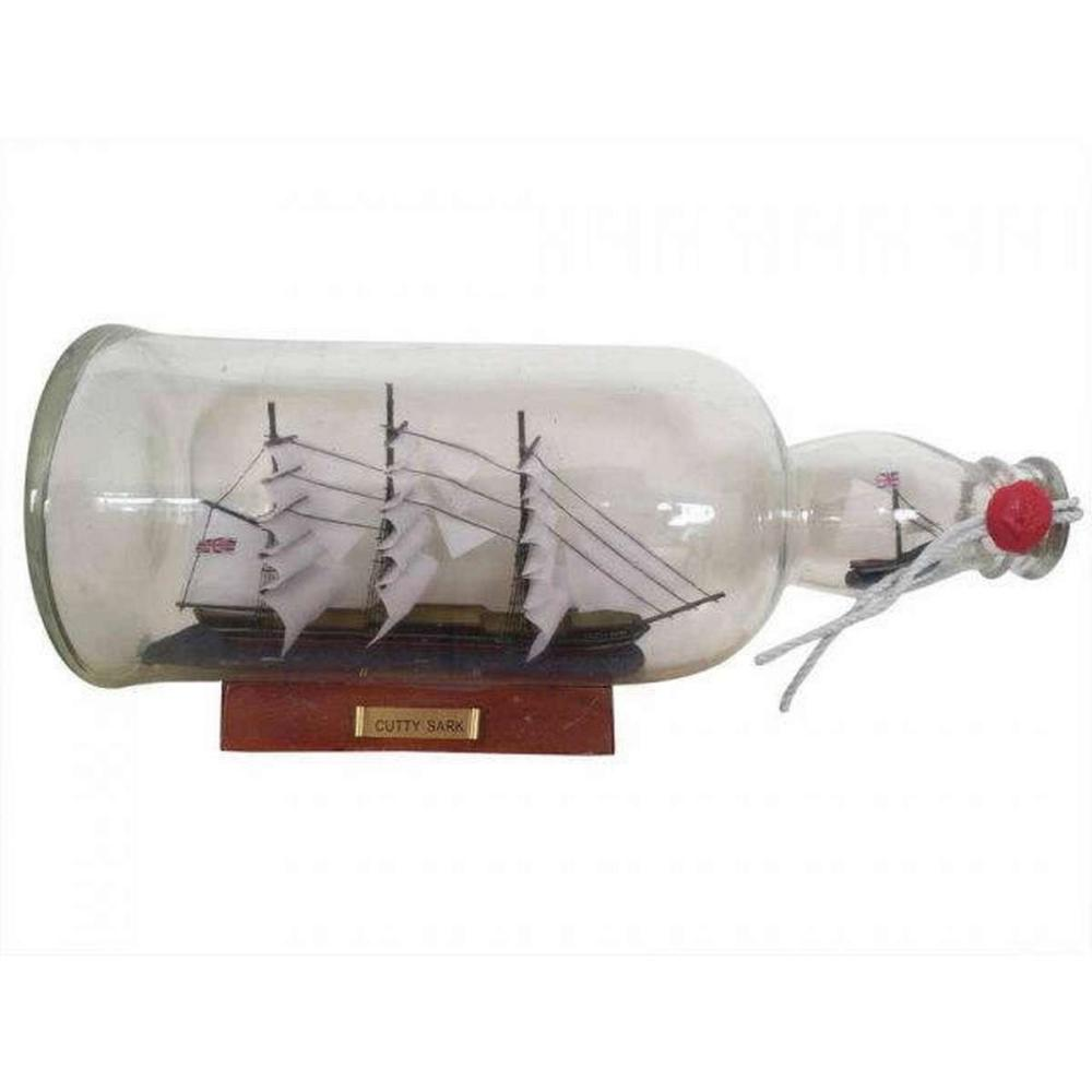 Cutty Sark Model Ship in a Glass Bottle 11in.