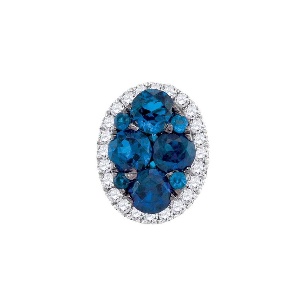 14k White Gold Round Blue Sapphire Diamond Frame Oval Cluster Pendant 3/4 Cttw