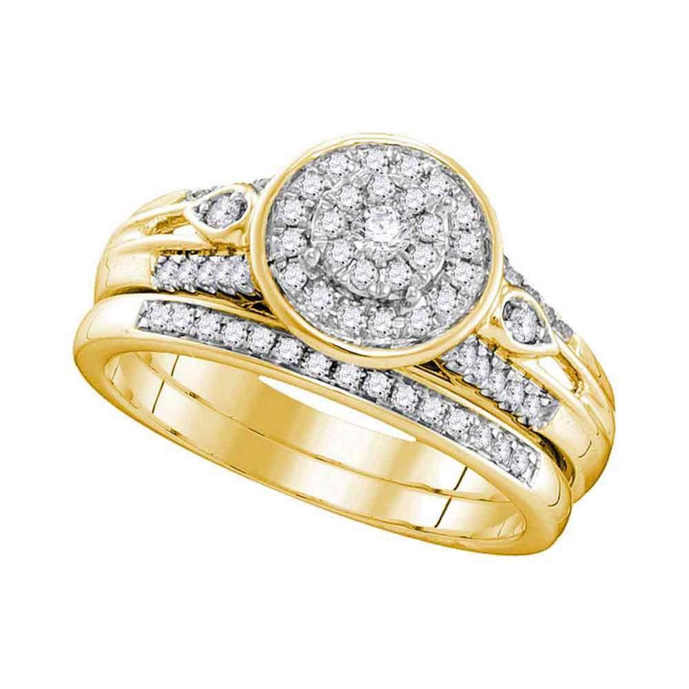 10k Yellow Gold Round Diamond Halo Bridal Wedding Engagement Ring Band Set 3/8