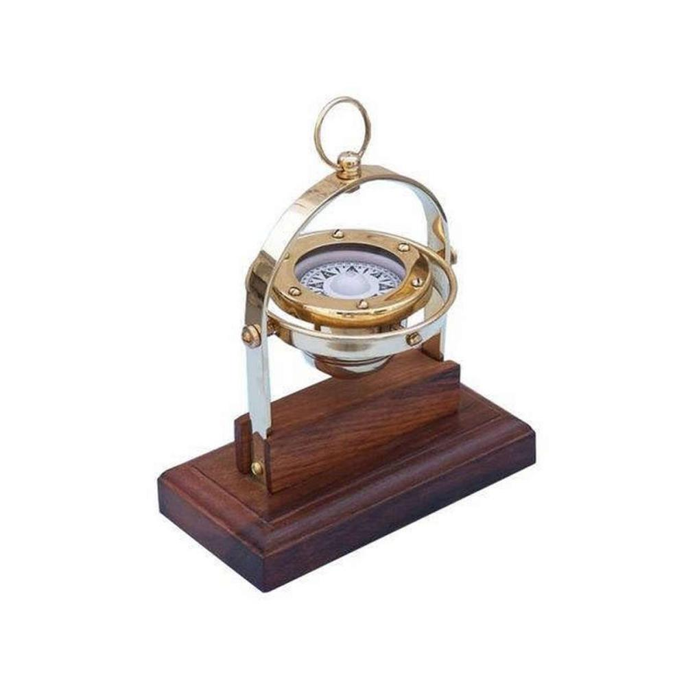 Antique Brass Executive Desk Gimbal Compass 8in.