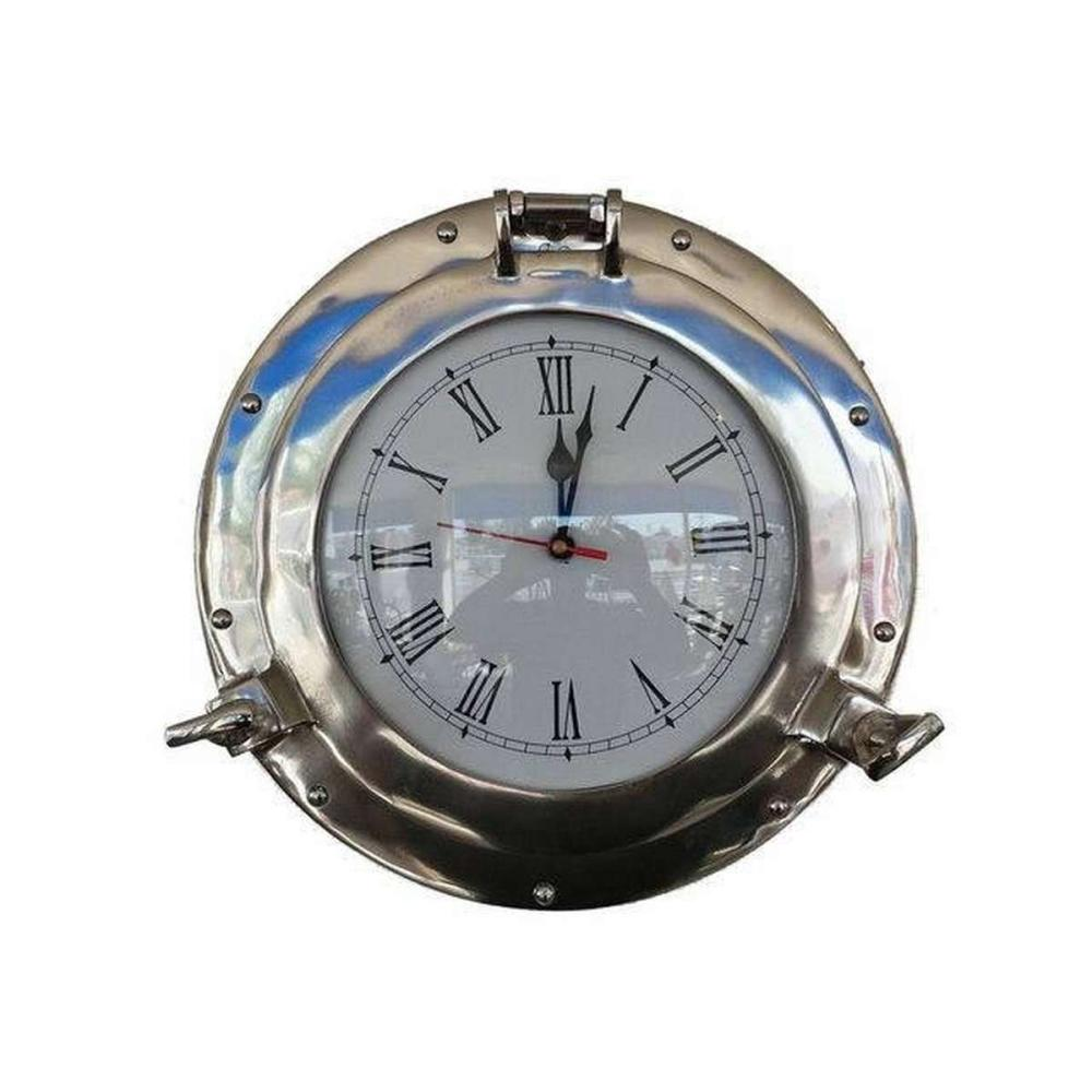 Chrome Decorative Ship Porthole Clock 12in.