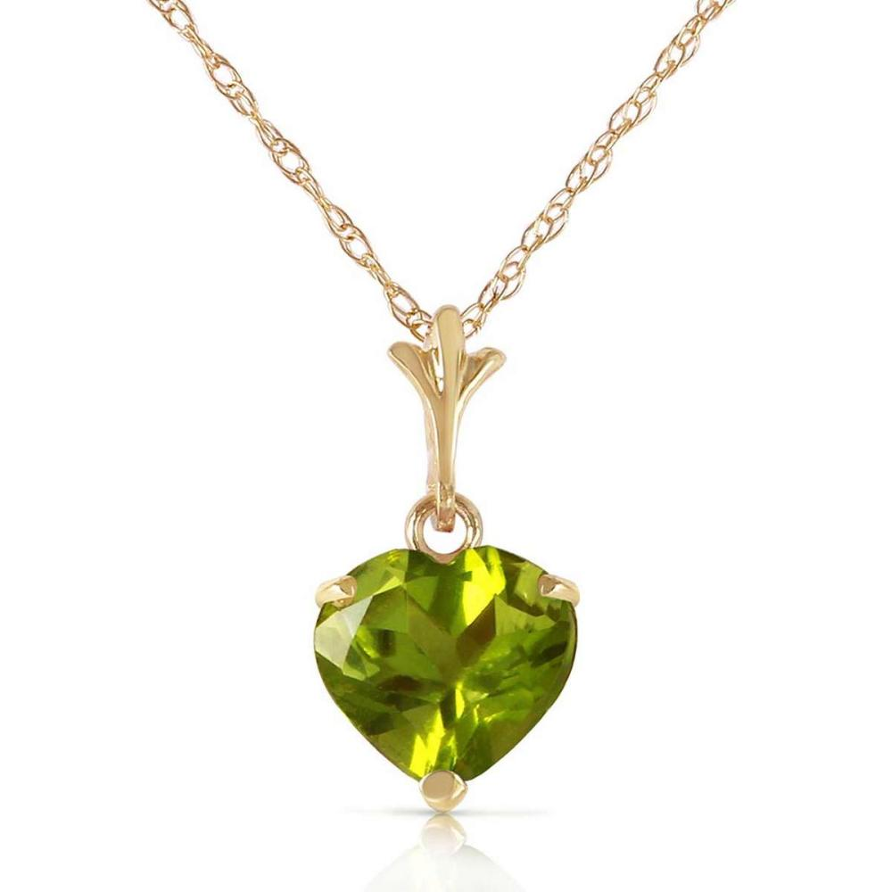 1.15 Carat 14K Solid Gold Leap Of Heart Peridot Necklace