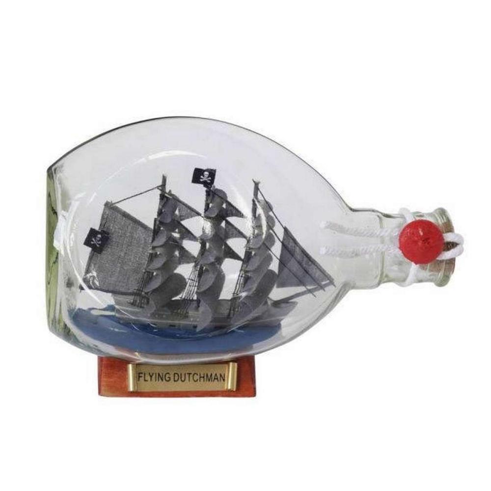 Flying Dutchman Pirate Ship in a Glass Bottle 7in.